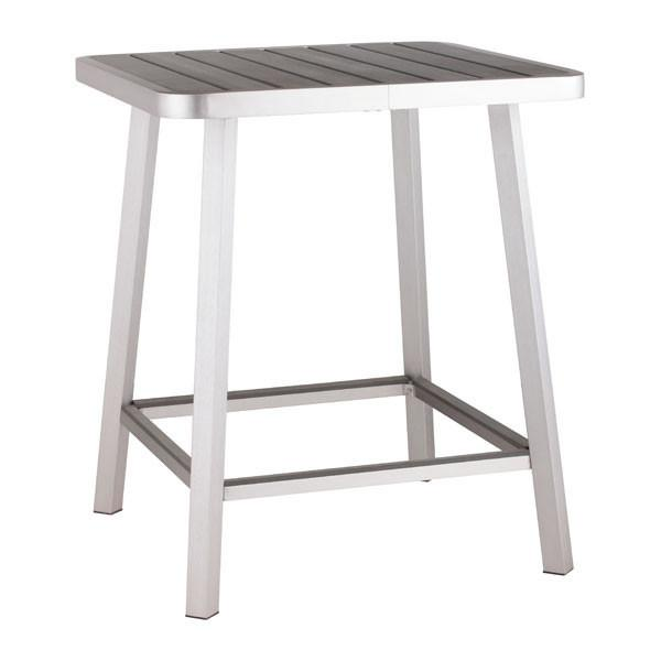 Megapolis Bar Table Brushed Aluminum Outdoor Zuo