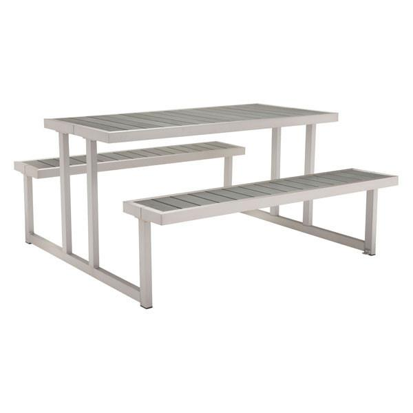 Cuomo Brushed Aluminum Picnic Table Outdoor Zuo Gray
