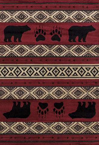 Woodside Bear Imprint Red Rug - 4 Size Options Rugs United Weavers