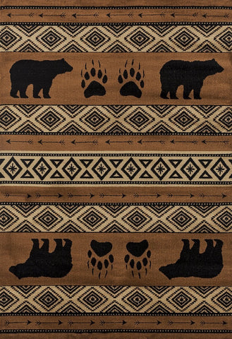 Woodside Bear Imprint Brown Rug - 4 Sizes Available Rugs United Weavers