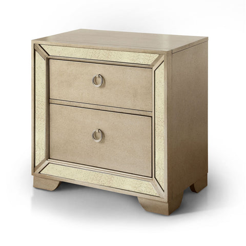Ceren 2-Drawer Mirrored Nightstand Silver