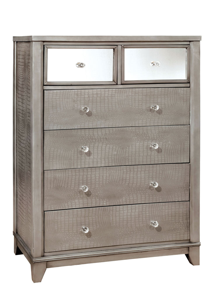 Hera 6-Drawer Mirrored Crocodile Chest Silver Furniture Enitial Lab