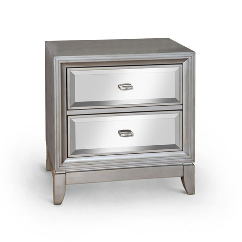 Laney Mirrored 2-Drawer Nightstand Silver