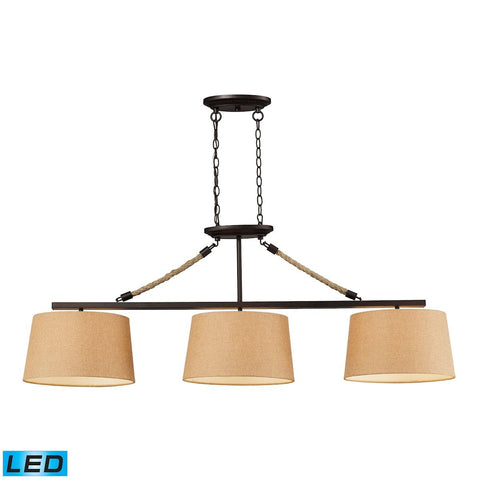 Natural Rope 3 Light LED Billiard In Aged Bronze Ceiling Elk Lighting