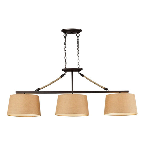 Natural Rope 3 Light Billiard In Aged Bronze Ceiling Elk Lighting