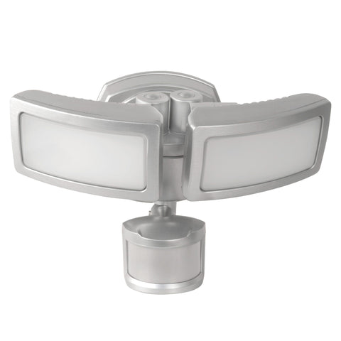 LED Dual Head Security Flood Light, Stainless Steel Finish, Dusk to Dawn w/Motion Sensor, 3000 Lumens, 5000K, Energy Star
