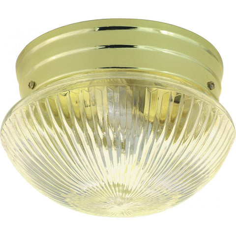 "Nuvo Lighting 2 Light 10"" Flush Mount Medium Clear Ribbed Mushroom SF76/252"