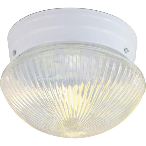 "Nuvo Lighting 2 Light 10"" Flush Mount Medium Clear Ribbed Mushroom SF76/253"