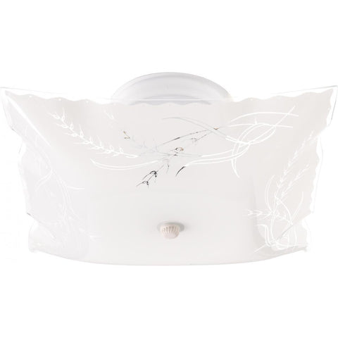 "2 Light 12"" Ceiling Fixture Square Wheat / Ruffled Edge Ceiling Nuvo Lighting"