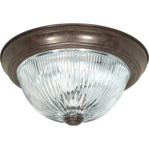 "2 Light 11"" Flush Mount Clear Ribbed Glass Ceiling Nuvo Lighting"