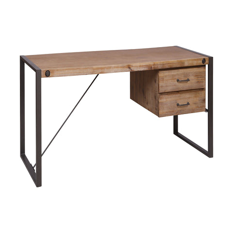 Armour Square Grey-Bronze Metal, Acacia, MDf, and Wood Veneer Two-Drawer Desk Furniture Stein World