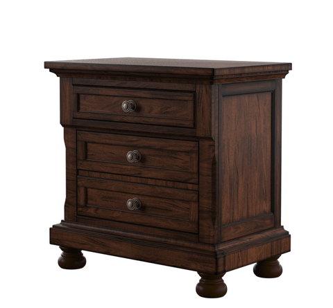 Piaz 3-Drawer Nightstand Cherry