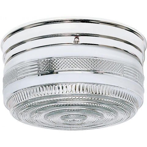 "2 Light 10"" Flush Mount Large Crystal / White Drum"