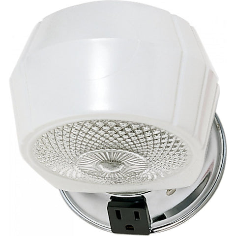 "5"" Vanity Light with White Crystal Bottom Shade & Convenience Outlet"