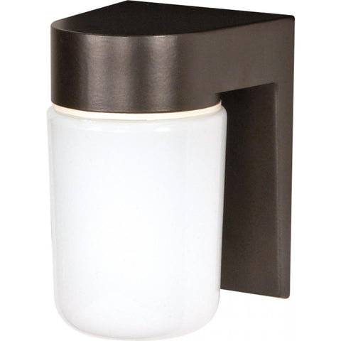 "8"" Utility White Cylinder Wall Mount - Bronze"