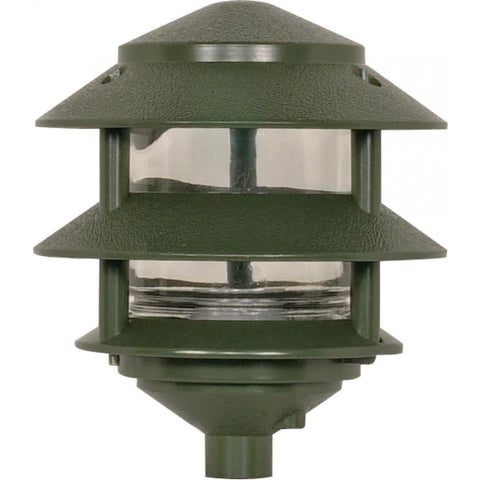 Nuvo Lighting Pagoda Garden Fixture Small Hood 1 light 2 Tier Green Finish SF77/323