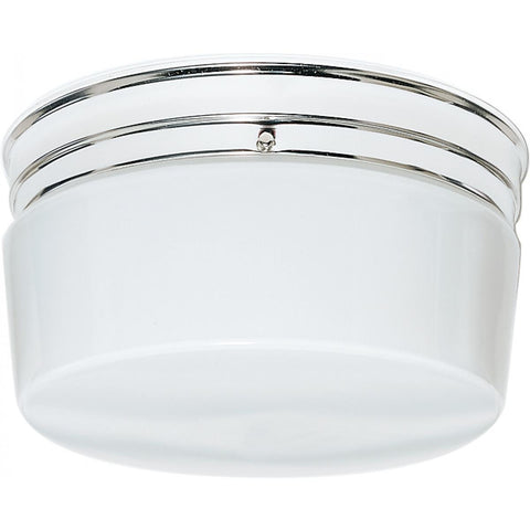 "2 Light 10"" Flush Mount Large White Drum"