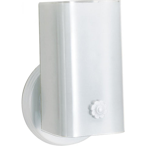 "7"" White Bath Vanity Wall Sconce with White ""U"" Channel Glass"