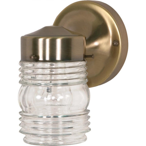 "Nuvo Lighting 1 Light 6"" Porch Wall Mason Jar with Clear Glass SF77/995"