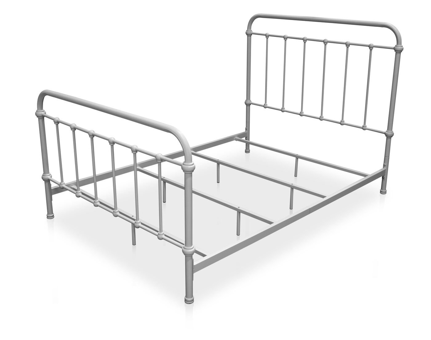 Norean Metal Eastern King Bed Vintage White Furniture Enitial Lab