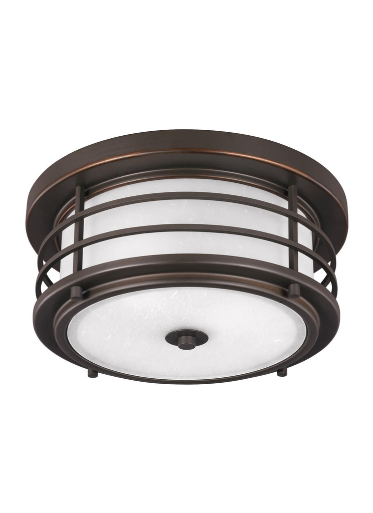 Sauganash Two Light Outdoor Ceiling LED Flush Mount - Bronze Outdoor Sea Gull Lighting