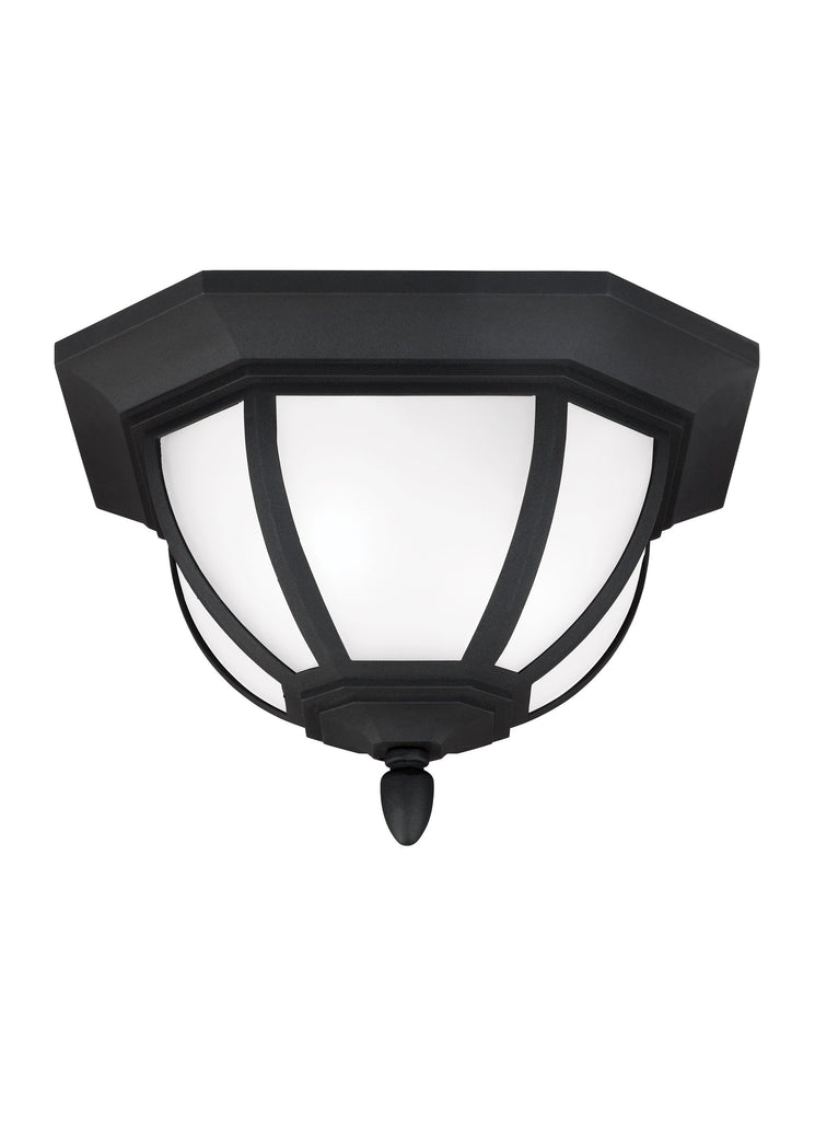 Childress Two Light Outdoor Ceiling Flush Mount - Black Outdoor Sea Gull Lighting
