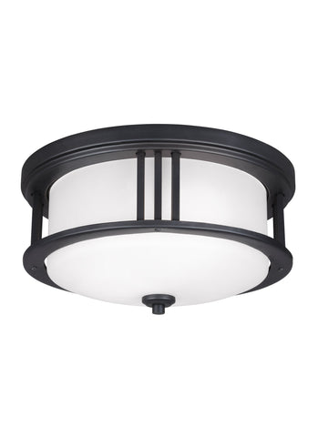 Crowell Two Light Outdoor Ceiling Flush Mount - Black Outdoor Sea Gull Lighting