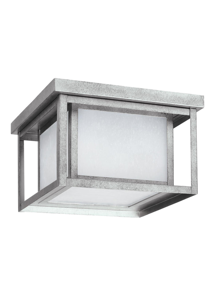 Hunnington LED Outdoor Ceiling Flush Mount - Weathered Pewter Outdoor Sea Gull Lighting