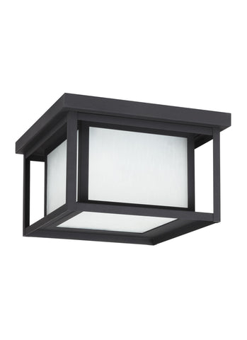 Hunnington Two Light Outdoor Ceiling Flush Mount - Black