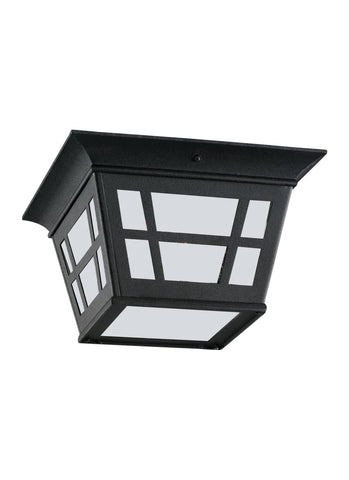Herrington Two Light Outdoor Ceiling Flush Mount - Black