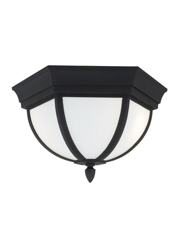 Wynfield Two Light Outdoor Ceiling Flush Mount - Black