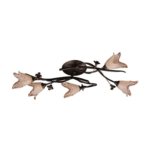 Fioritura 5 Light Flushmount In Aged Bronze And Hand Blown Tulip Glass Flush Mount Elk Lighting
