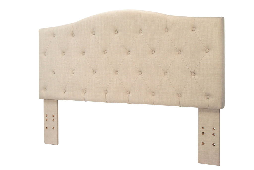 Tara Flax Fabric Full/Queen Headboard Ivory Furniture Enitial Lab