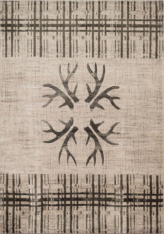 "Designer Contours Collection Rug - Mt/ Antlers & Stripe (5 Sizes) Rugs United Weavers Mat 1'10"" x 2'7"""