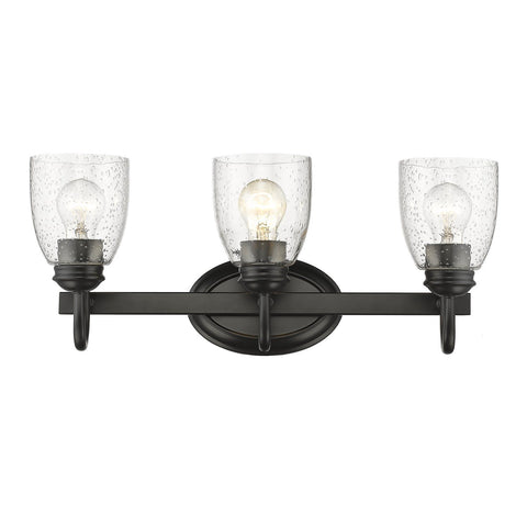 Golden Lighting Parrish 3 Light Bath Vanity in Black with Seeded Glass