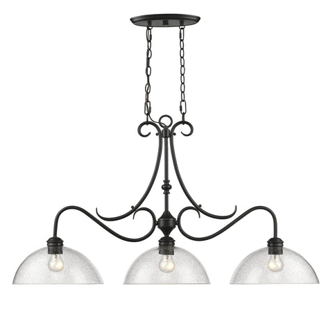 "Parrish Linear 41""w Black Pendant with Seeded Glass Ceiling Golden Lighting"