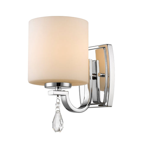 Evette Chrome Wall Sconce with Opal Glass