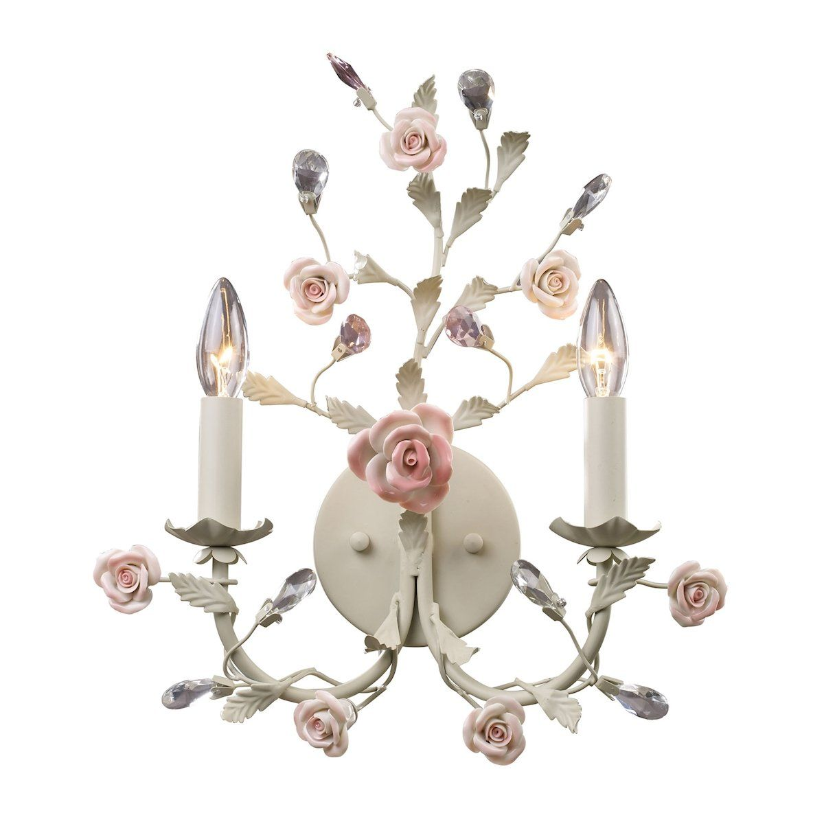 Heritage 2 Light Wall Sconce In Cream With Pink Porcelain Accents Wall Sconce Elk Lighting