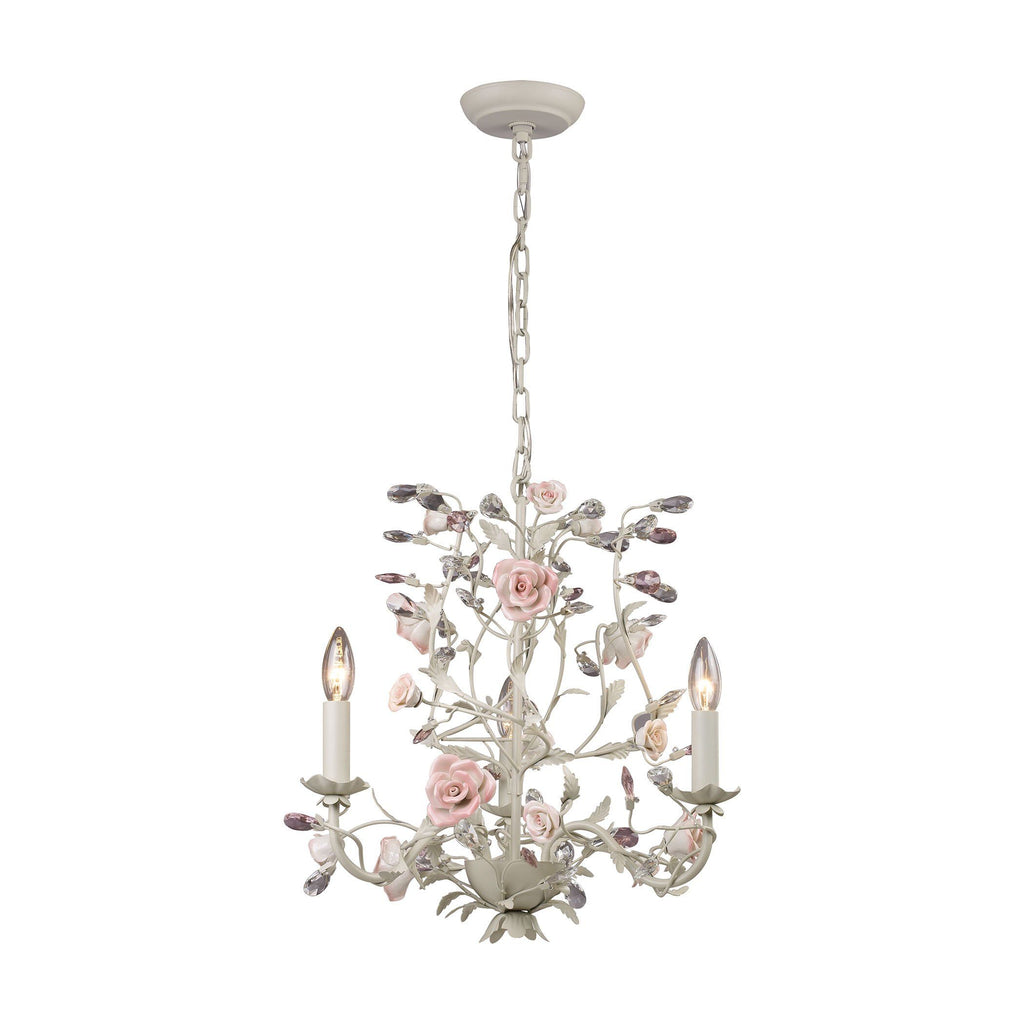 Heritage 3 Light Chandelier In Cream With Pink Porcelain Accents Ceiling Elk Lighting