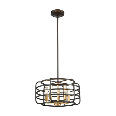 Capistrano 5 Pendant Oil Rubbed Bronze/Satin Brass Ceiling Elk Lighting