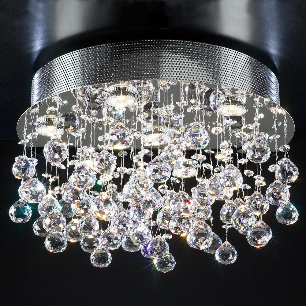 "Beverly 20""w Flush Mount Crystal Ceiling Fixture"