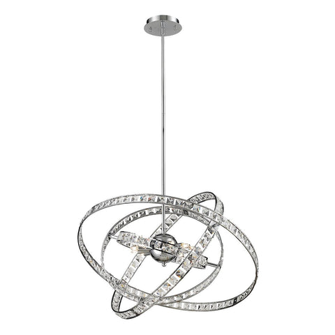 Elk Lighting Saturn 6 Light Pendant In Chrome And Clear Crystal