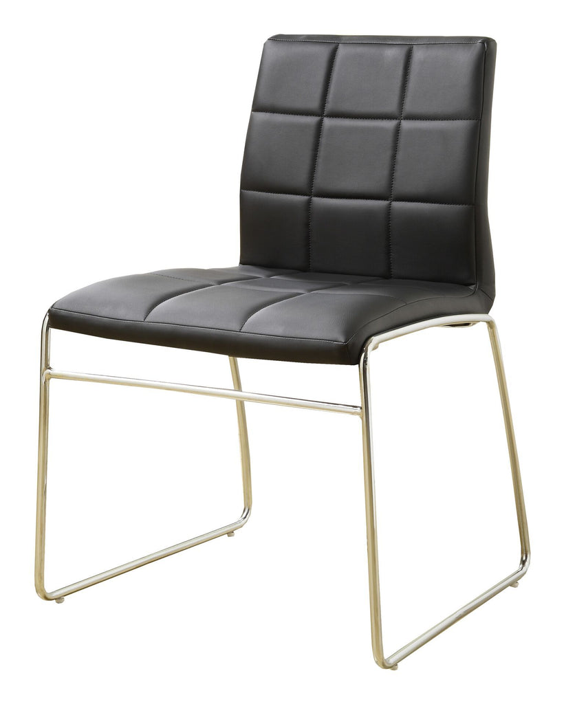 Kellen Modern Tufted Leatherette Dining Chair Black (Set of 2) Furniture Enitial Lab