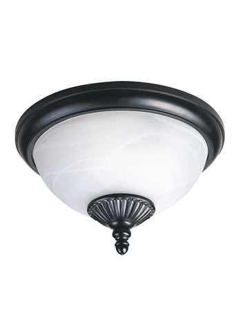 Yorktown Two Light Outdoor Ceiling Flush Mount - Black