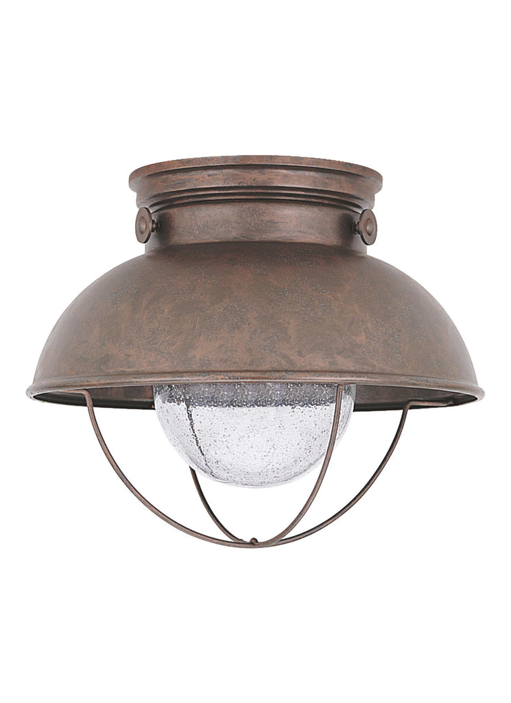 Sebring LED Outdoor Ceiling Flush Mount - Weathered Copper Outdoor Sea Gull Lighting