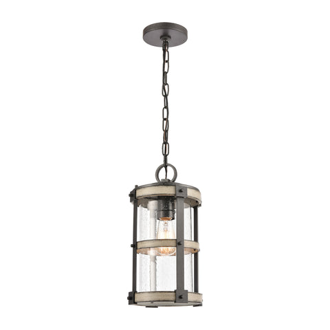 Crenshaw 1-Light Outdoor Pendant in Anvil Iron and Distressed Antique Graywood with Seedy Glass