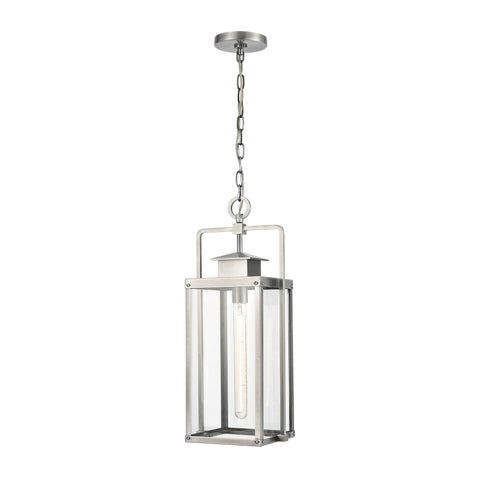 Crested Butte 1-Light Outdoor Pendant in Antique Brushed Aluminum with Clear Glass Enclosure