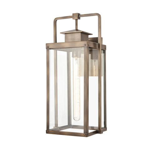 Crested Butte 1-Light Outdoor Sconce in Vintage Brass with Clear Glass Enclosure