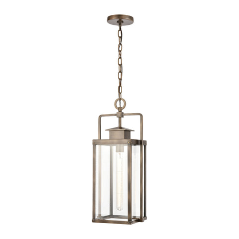 Crested Butte 1-Light Outdoor Pendant in Vintage Brass with Clear Glass Enclosure