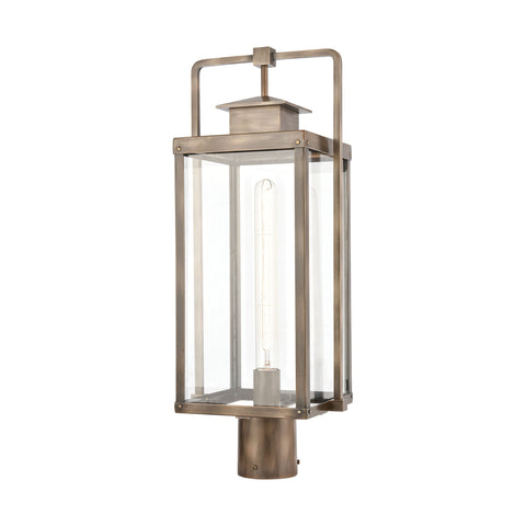Crested Butte 1-Light Outdoor Post Mount in Vintage Brass with Clear Glass Enclosure